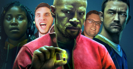 Project Power promotional image, featuring Jamie Foxx, Joseph Gordon Levitt and Dominique Fishback, with the Geek Guys photoshopped in the background